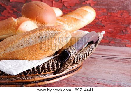 Basket Of Golden Crusty Fresh Bread Rolls