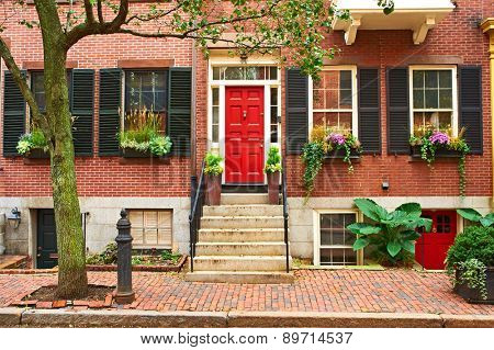 Street at  Beacon Hill neighborhood, Boston, USA.