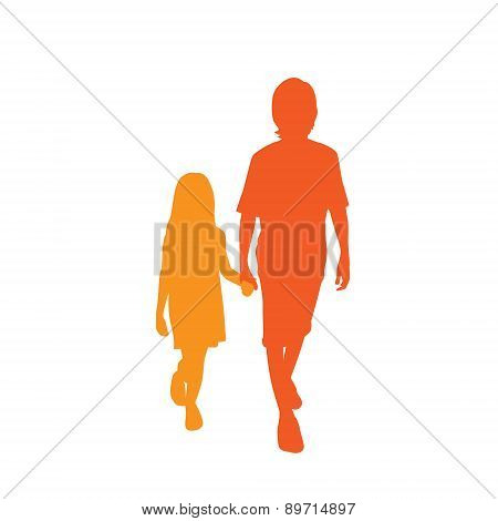 Children Silhouette, Full Length Boy and Girl Holding Hands