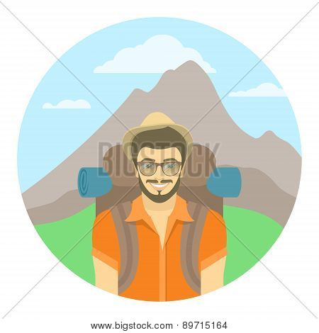 Young Man Tourist With A Backpack On A Background Of Mountains
