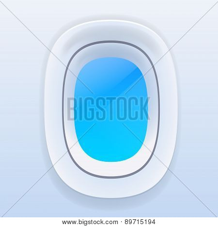 Aircraft Windows with Blue Sky, Airplane Vector