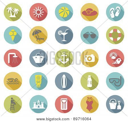 Beach flat icons set.Vector
