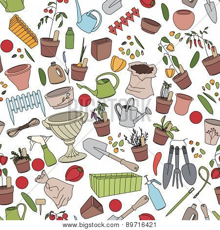 Seamless pattern with gardening tools, flower pots,herbs and vegetables