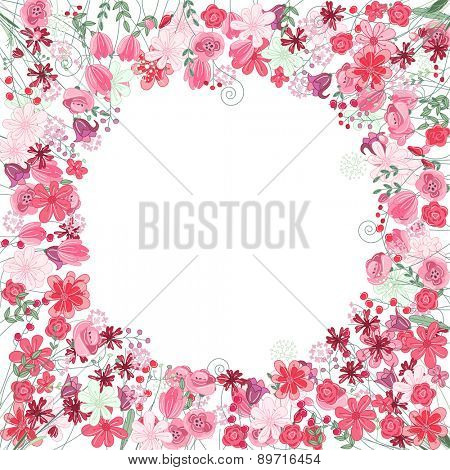 Vintage round frame with contour red flowers isolated on white