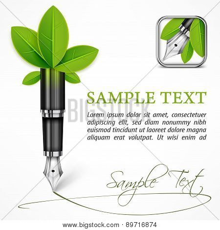 Ecology Concept - Fountain Pen With Leaves