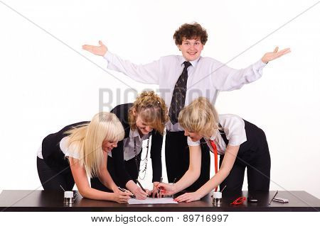 business team and dull man working together at office, isolated on white