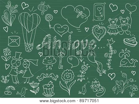 Vector collection of romantic symbols. Sketch on blackboard
