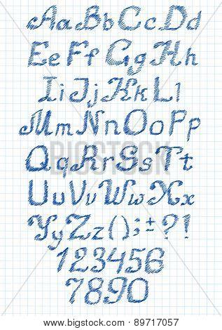 Vector zigzag alphabet