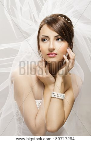 Bride Fashion Beauty Portrait, Wedding Face Makeup Hairstyle, Jewelr