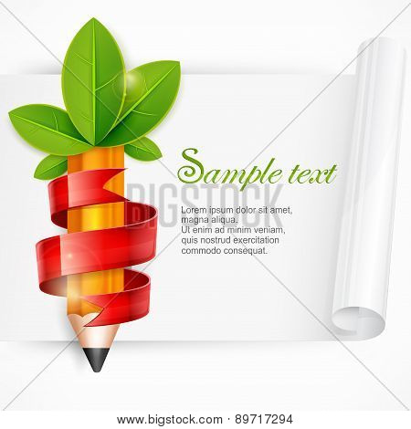 Pencil With Leaves And Ribbon