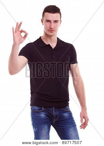 Handsome Man Showing Ok Sign, Portrait On White Background