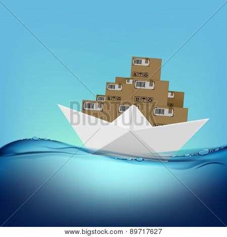 Paper Boat With Boxes