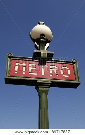 France, An Old Sign Of Metro In Paris