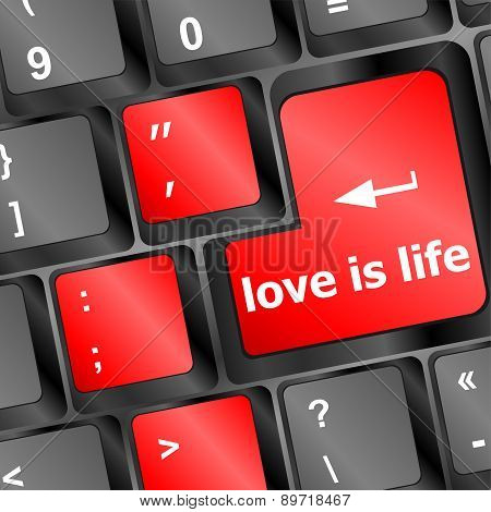 Modern Keyboard With Love Is Life Text Symbols Vector