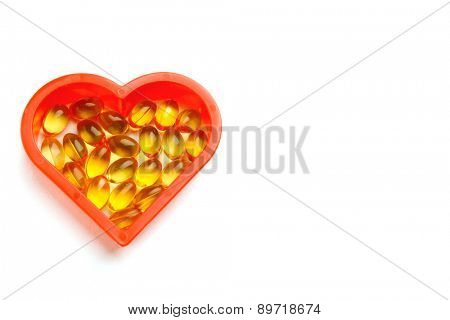 Heart of cod liver oil, isolated on white