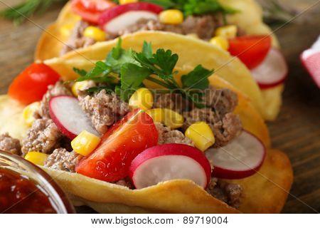 Mexican food Taco, closeup