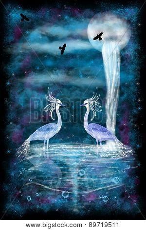 Fantasy Two Herons
