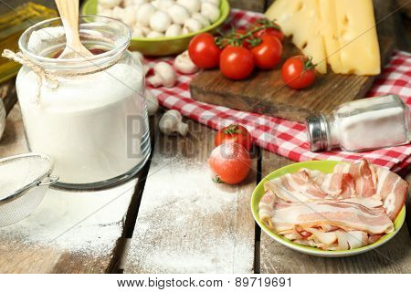Food ingredients for cooking on table close up