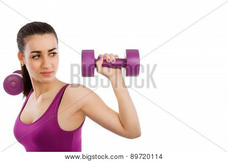 Beautiful Lady Fitness With Copy Space.
