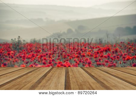 Poppy Field Landscape In Summer Countryside Sunrise With Wooden Planks Floor