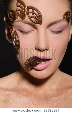 Beautiful Woman With Jewelry Made Of Chocolate