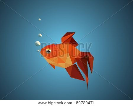 Gold fish. abstract polygon vector illustration