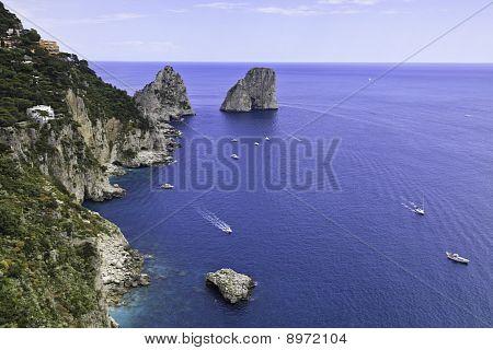 Beautiful View Of Faraglioni In Capri