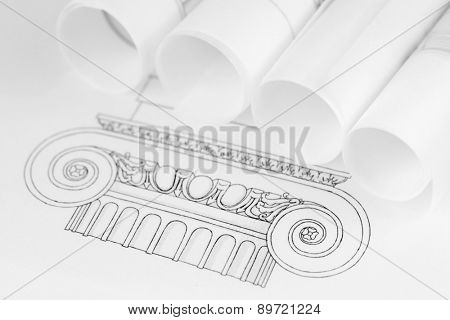 rolls of architecture blueprints & drawings Ionic architectural order