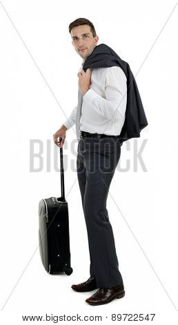 Man holding suitcase isolated on white