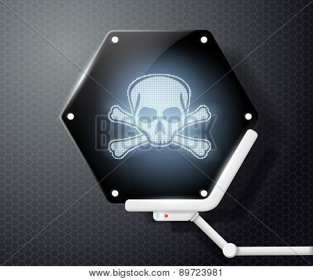 Futuristic Screen With Skull And Crossbones