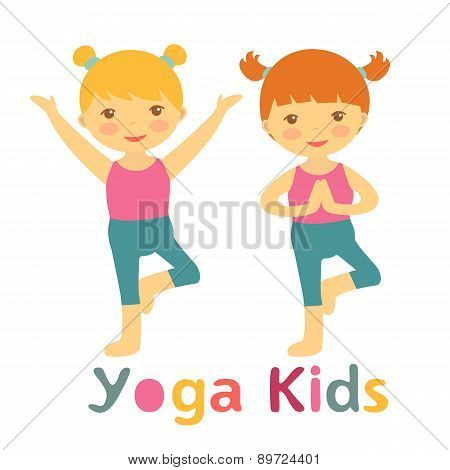 Cute yoga kids card with little girls doing yoga