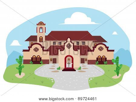 Spanish-Mediterranean or Hispanic House during Daytime Cartoon Drawing
