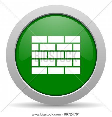 firewall green glossy web icon