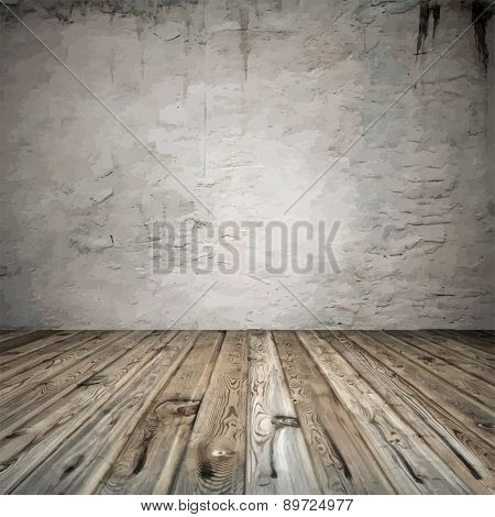 old room with concrete wall and wooden floor, vector
