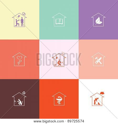 Home set. Flat color raster icons.