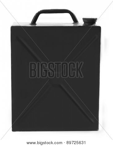 Metal jerrycan isolated on white