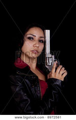 Gun On Black Looking To Side