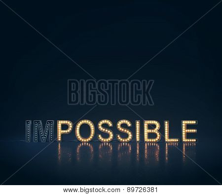 Dark possible concept with illuminated letters. 3d rendering