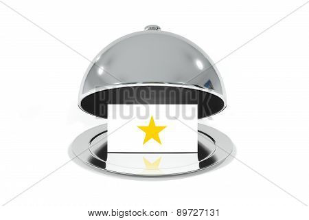 Opened Silver Cloche With White Sign One Star