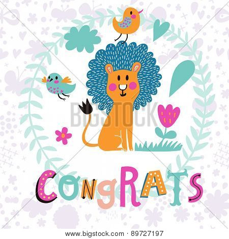 Cute childish card with lovely lion and birds in vector. Happy birthday invitation background in bright colors