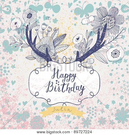 Happy birthday card in fantastic hipster style. Lovely holiday background made of pastel colored flowers, awesome horns and textbox