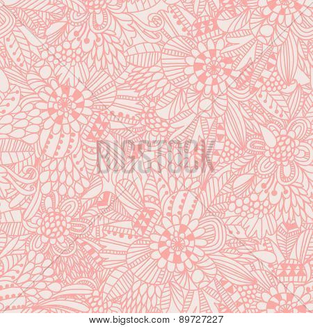 Floral seamless pattern in popular pink color. Sweet background for lovely wallpapers