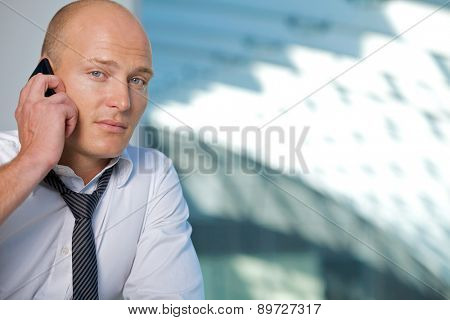 Businessman conversing on mobile phone, portrait