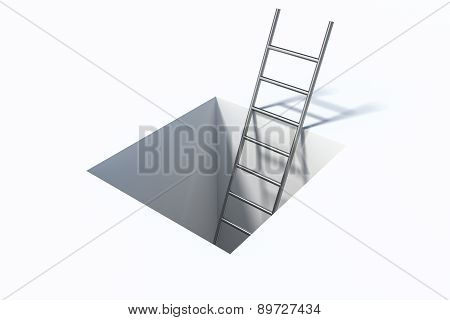 Ladder In Square Hole Over White Surface Help Illustration