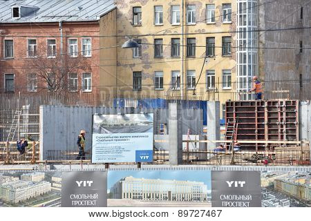 ST. PETERSBURG, RUSSIA - APRIL 27, 2015: Construction site of a residential structure built by Finnish company YIT Corporation. The company is the most significant foreign housing developer in Russia