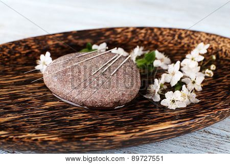 Acupuncture needles on wooden plate with pebble and flowering branch, closeup