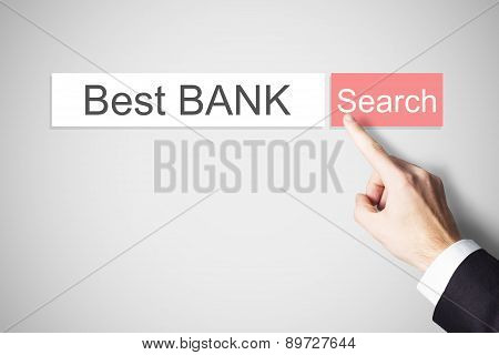 Businessmans Finger Pushing Webbrowser Search Button Best Bank