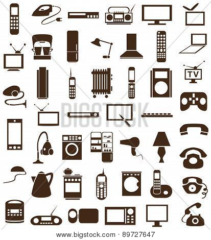 Household Appliances Icons On White