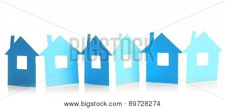 Paper houses isolated on white