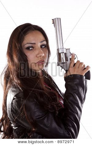 Woman Holding Gun Looking Back